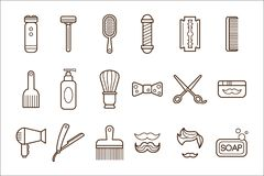 Vector set of barber shop elements. Electric shaver and manual razor, blade, comb, scissors, oil, hair dryer, soap. Shampoo, shaving brush, haircut, mustache Royalty Free Stock Image