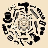 Vector set of barbershop icons in flat style. Hairdressing salon elements collection. Stock Photos