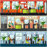 Vector set of barbershop and tattoo studio flat posters Stock Photos