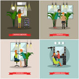 Vector set of barbershop and tattoo studio flat posters Stock Photo