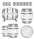 Vector set Barrels in Vintage Style Stock Image