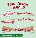 Vector Set: Baseball Bat and Ball Labels and Icons Stock Photo