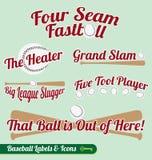 Vector Set: Baseball Bat and Ball Labels and Icons. Collection of baseball bat and ball labels and icons with baseball related slogans Stock Photo