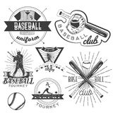 Vector set of baseball labels in vintage style. Sport concept. Bat and ball. Royalty Free Stock Photography