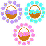 Vector set of baskets with flowers Stock Photo
