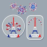 Bastille day badges. Eiffel tower and fireworks. Vector set of Bastille day badges. Silhouette of Eiffel tower and Bastille day fireworks in colors of French stock illustration