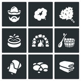 Vector Set of Bath and Sauna Accessories Icons. Stock Photo