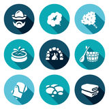 Vector Set of Bath and Sauna Accessories Icons. Royalty Free Stock Images