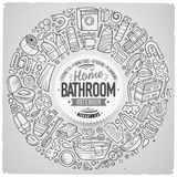 Vector set of Bathroom cartoon doodle objects Stock Photos