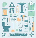 Vector Set: Bathroom Icons and Silhouettes Royalty Free Stock Photos