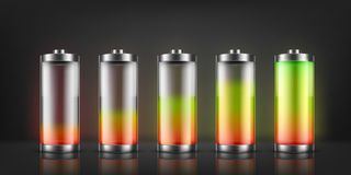 Vector set of battery charge indicators. With low and high energy levels isolated on background. Full charged and discharged accumulators with colorful glow vector illustration
