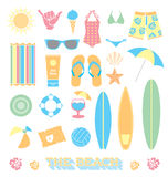 Vector Set: Beach Fun Objects Royalty Free Stock Photos