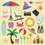 Vector set of beach icons Stock Photos