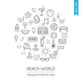 Vector Set of Beach Modern Flat Thin Icons Inscribed in Round Sh Stock Photography