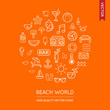 Vector Set of Beach Modern Flat Thin Icons Inscribed in Round Sh. Ape Royalty Free Stock Image