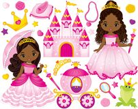 Vector Set of Beautiful African American Princesses and Fairytale Elements. Vector set of beautiful African American princess, castle, carriage, frog, crown and royalty free illustration
