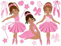 Vector Set of Beautiful Ballerinas Dancing. Vector set with beautiful African American ballerinas, bows and ballet shoes. Vector ballerinas in pink tutu dresses vector illustration