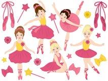 Vector Set of Beautiful Ballerinas Dancing. Vector set with beautiful young ballerinas, bows and ballet shoes. Vector ballerinas in pink tutu dresses. Ballerinas Stock Images