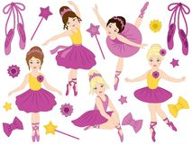 Vector Set of Beautiful Ballerinas Dancing Royalty Free Stock Photography