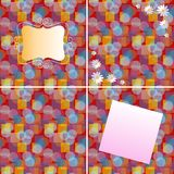 Vector set of beautiful cards with abstract background and daisies.  Stock Photography