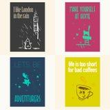 Vector set of beautiful cards templates. Stock Photos