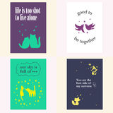 Vector set of beautiful cards templates. Royalty Free Stock Image