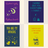 Vector set of beautiful cards templates. Royalty Free Stock Photos