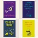 Vector set of beautiful cards templates. Royalty Free Stock Photos