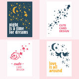 Vector set of beautiful cards templates. Royalty Free Stock Photo