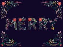Vector Set of Beautiful Christmas or Winter Holidays Floral Alphabet. Letters Royalty Free Stock Images