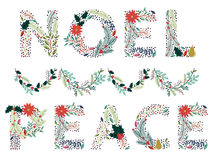 Vector Set of Beautiful Christmas or Winter Holidays Floral Alphabet Stock Image