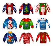 Vector set of beautiful cute Christmas sweaters with holiday decorations. Knitted winter lights stock image