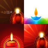 Vector set of beautiful diwali diya background illustration Stock Images