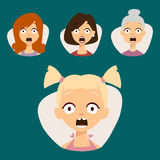 Vector set beautiful emoticons face of people fear shock surprise avatars characters illustration Royalty Free Stock Photos