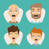 Vector set beautiful emoticons face of people fear shock surprise avatars characters illustration. Vector set beautiful emoticons face of people fear shock vector illustration