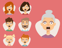Vector set beautiful emoticons face of people fear shock surprise avatars characters illustration. Vector set beautiful emoticons face of people fear shock stock illustration