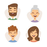 Vector set beautiful emoticons face of people smiling avatars happy characters illustration Royalty Free Stock Photos
