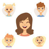 Vector set beautiful emoticons face of people smiling avatars happy characters illustration royalty free illustration