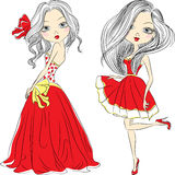 Vector set beautiful fashion girls in red dresses. Set Beautiful fashion girls in an elegant short and long red dresses Royalty Free Stock Images