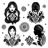 Vector Set of beautiful girls in meditation with a Stock Photos