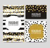 Vector set of beautiful hand drawn cards templates. Text message, lettering, gift. Royalty Free Stock Photo