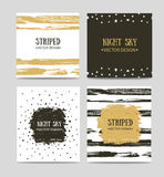 Vector set of beautiful hand drawn greeting cards templates. Text message, lettering, gift. Stock Photo