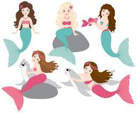 Vector Set of Beautiful Mermaids royalty free illustration