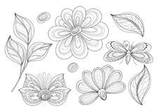 Vector Set of Beautiful Monochrome Floral Design Elements with Insects Royalty Free Stock Photography