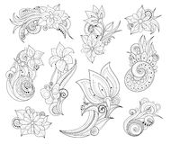Vector Set of Beautiful Monochrome Floral Design Elements with Insects Royalty Free Stock Images