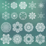 Vector set of beautiful ornamental snowflakes. Stock Photos