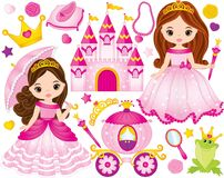 Vector Set of Beautiful Princesses and Fairytale Elements vector illustration