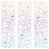 Vector set of beautiful round icons icons in doodle style. Painted, colorful, gradient on a piece of linear paper on white vector illustration