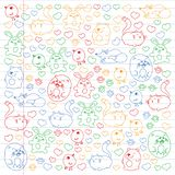 Vector set of beautiful round icons icons in doodle style. Painted, colorful, pictures on a piece of linear paper on white. Background stock illustration
