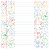 Vector set of beautiful round icons icons in doodle style. Painted, colorful, pictures on a piece of linear paper on white. Background vector illustration
